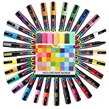 Uni Posca Paint Marker FULL RANGE Set , Mitsubishi ALL Natural & Dark , Gold & Silver Pen Medium Point 29 Color (PC-5M), Original Plastic Box