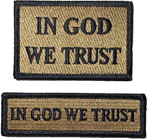 In God We Trust Morale Tactical and Tab Patch Hook and Loop Fasteners Backing - Coyote Tan - By Ranger Return