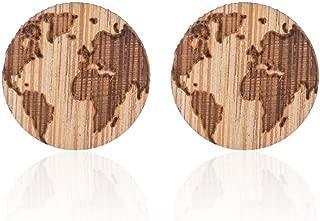 MIXIA Handmade Globe World Map Earrings for Women Men Hiking Jewelry Gift Geometric Round Wooden Crescent Moon Star Stud Earrings