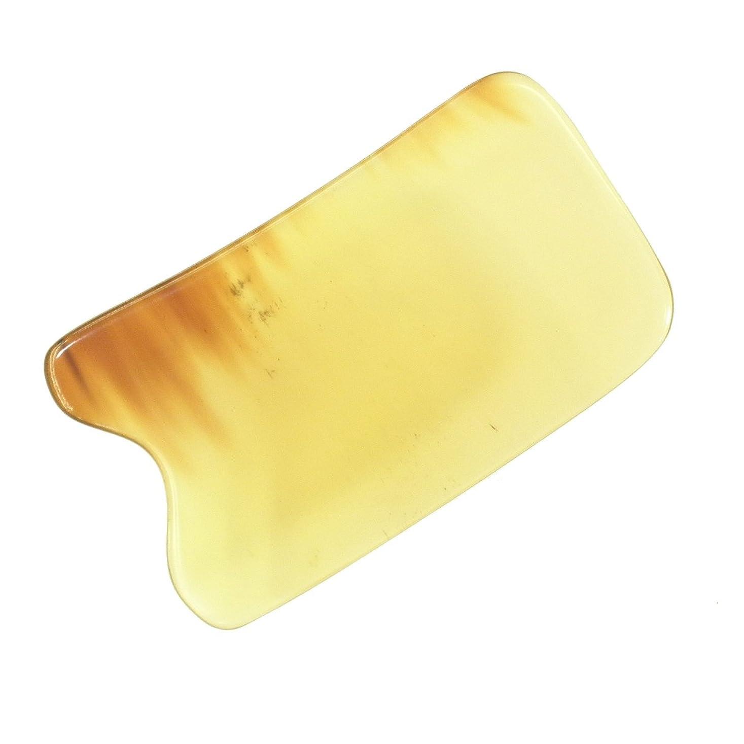 ハンディキャップ梨めまいかっさ プレート 厚さが選べる 水牛の角(黄水牛角) EHE219 四角凹 一般品 少し薄め (4ミリ程度)