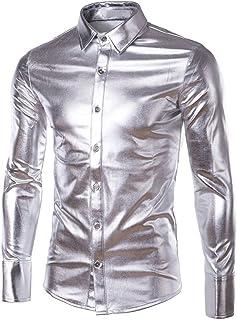 EUROUSMDP Mens Trend Nightclub Styles Metallic Silver Button Down Shirts