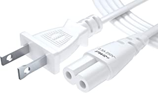 UL Listed Pwr 6 Ft 2 Prong (Figure 8) AC Wall Cable 2 Slot Power Cord LED LCD TV Samsung LG Sharp; Canon Pixma, Epson Printer; Dell Asus Laptop Charger - 3903-000853 3903-000599 Replacement White