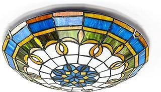 ACHNC Lámpara de Techo Dormitorio Tiffany, E27 Luz de Techo Cocina Redonda con Pantalla de Cristal Manchado Vintage Plafon Tiffany Techo para Salon Dormitorio Baño Bar Pasillo Iluminación,50CM