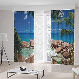 C COABALLA Living Room Curtains TT01 Farm House Decor Living Room Bedroom Curtain Idyllic Rocky Coast Island Palm Leaves 2 Panel Set 236W x 106LInches