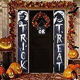 3 Carteles de Porche de Trick or Treat de Halloween Decoración de Colgante de Bandera de Halloween Pancarta de Porche de Halloween Señal de Bienvenido para Suministros de Fiesta Casa