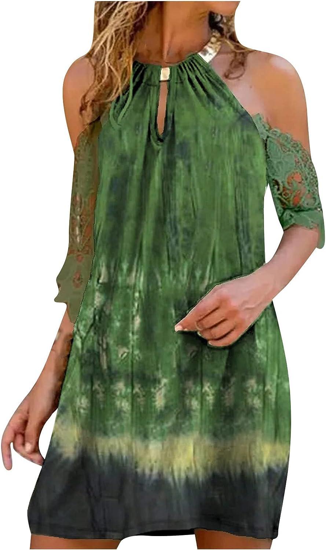 Cold Shoulder Dress for Women Summer Short Sleeve Metal Halter Dress Lace Floral Print Loose Casual Midi Dress