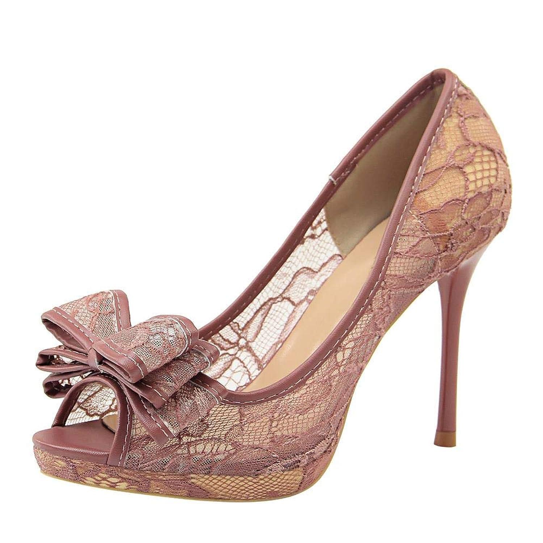 [Sobrisah] パンプス レディース サンダル レース オープントゥ 美脚 結婚式 キャバ ピンヒール 二次会 ハイヒール 9.5CM 大きいサイズ