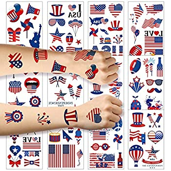 Fourth of July Temporary Tattoo ZERHOK 12 sheet Independence Day Tattoos American Flag Red White & Blue Design USA Stickers for Labor Day Memorial Day Party Supplies