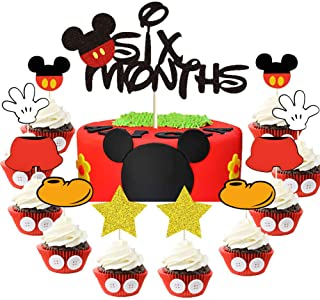 Mickey Six Months Cake Topper Red and Balck Mickey Inspired 1/2 Year Birthday Cupcake Topper Mickey Mouse 6 Months Pregnan...