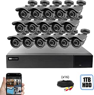 Best Vision 16CH 4-in-1 HD DVR Security Camera System (1TB HDD), 16pcs 1080P-Lite High Definition Outdoor Cameras with Night Vision - DIY Kit, App for Smartphone Remote Monitoring