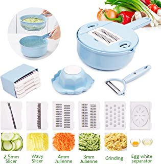 Vegetable Slicer, kitchen Mandoline Slicer veggie Cutter Grater Chopper Julienne Slicer with Hand Protector,Food Storage Container Tool for Potato, Tomato, Onion, Cheese, Cucumber