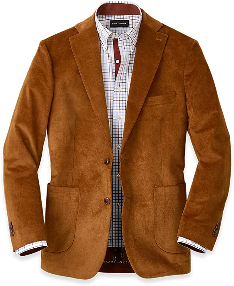 Paul Fredrick Men's Corduroy Solid Notch Lapel Sport Coat, Copper