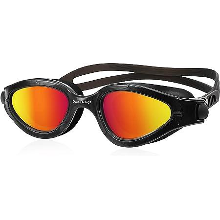 Queshark Gafas de Natación Polarizadas Protección UV Impermeable Antivaho Correa Ajustable Cómodo para Hombres Mujeres Adultos Unisex QS02