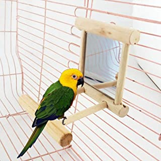 Birds Mirror Toy for Cage,Parrot Hanging Swing with Mirror,Natural Wooden Play Toys, Pet Bird Cage Accessories with Metal ...