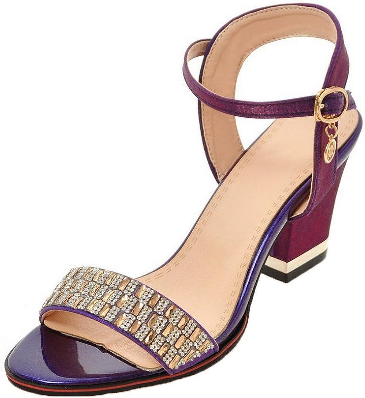 AllhqFashion Women's Kitten-Heels Blend Materials Studded Buckle Sandals