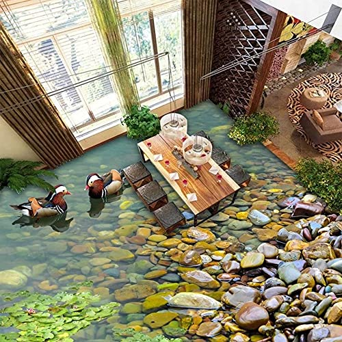 Mural personalizado patos adoquines 3D pegatinas de suelo de baño papel tapiz autoadhesivo decoración del hogar de pared impermeable -150x105cm