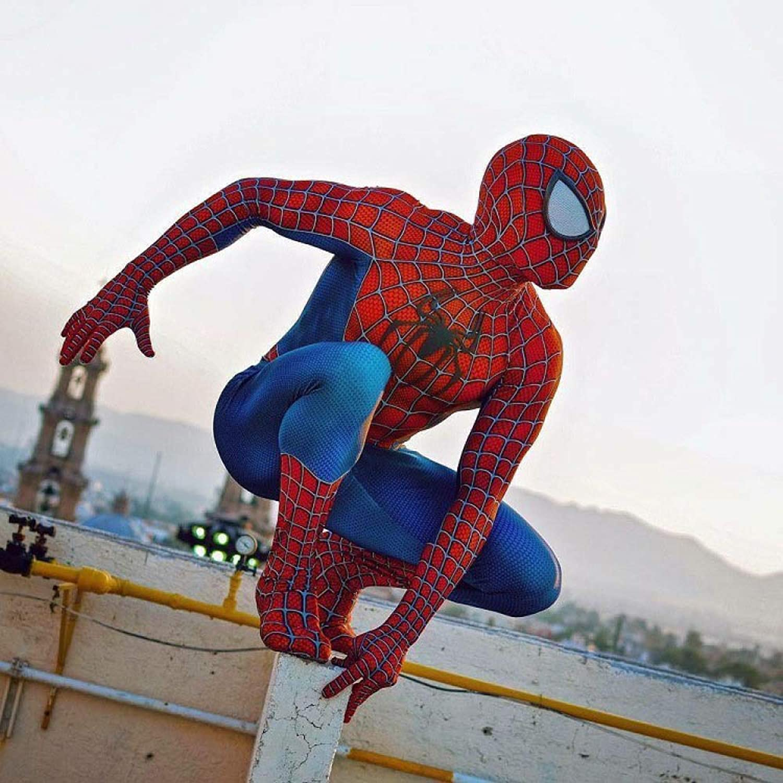 WEGCJU Die Klassische Toby Spiderman Tights Ist EIN Cosplay Für Siamesische Klamotten Mit Einem Stereofilm über Die Brust,rot-XXL