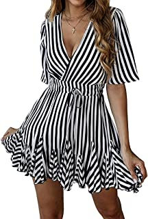 JQSTY Women's V Neck Short Sleeve Striped Wrap Ruffle Hem A Line Beach Mini Dress with Belt