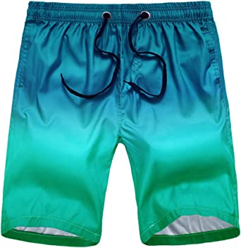 Civilever Men's Swim Trunks, Quick Dry Gradient Color Beach Shorts Watershorts Holiday Casual Sports Wear with Pockets and Adjustable Drawstring