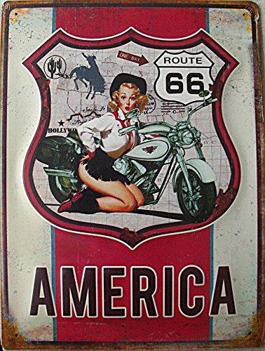 Blechwaren Fabrik Braunschweig Route 66 Plaque en tôle America 30 x 40 cm