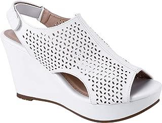 Women's Adjustable Strap Peep Toe Wedge Sandal