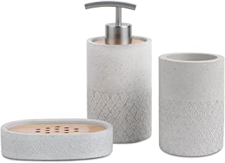 SATU BROWN Bathroom Accessories Set Grey Bathroom Soap Dispenser, Beaker, Soap Dish, Japanese Style Set for Bathroom Decor and Home Gift