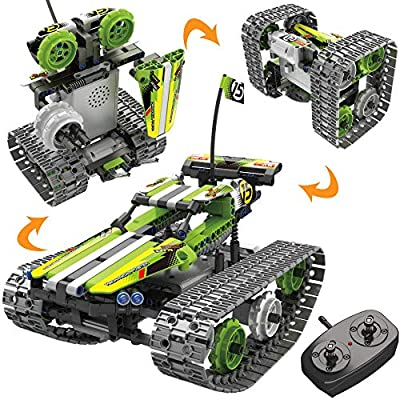 STEM Toys Remote Control Building Sets for Boys 8-12 Years Old, 3-in-1 RC Engineering Kit Builds Tracked Car/Robot/Tank. 2.4Ghz Rechargeable RC Racer Toy Set. Best Science Learning Kit Gift for Kids