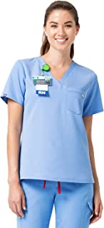 Mediclo Women's V-Neck Short Sleeves Nursing Medical One Chest Pocket Breathable Relaxed Fit Scrub Top Uniform