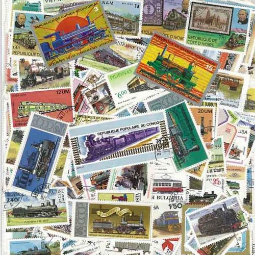 Collezione di 100 francobolli Diversi, Tutti timbrati, Tema: Treni