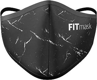 FITmask Mascarilla Pro Reutilizable Lavable Certificada Tejido Hidrófugo Made in Spain Black Marble - Adulto Cabecera - L