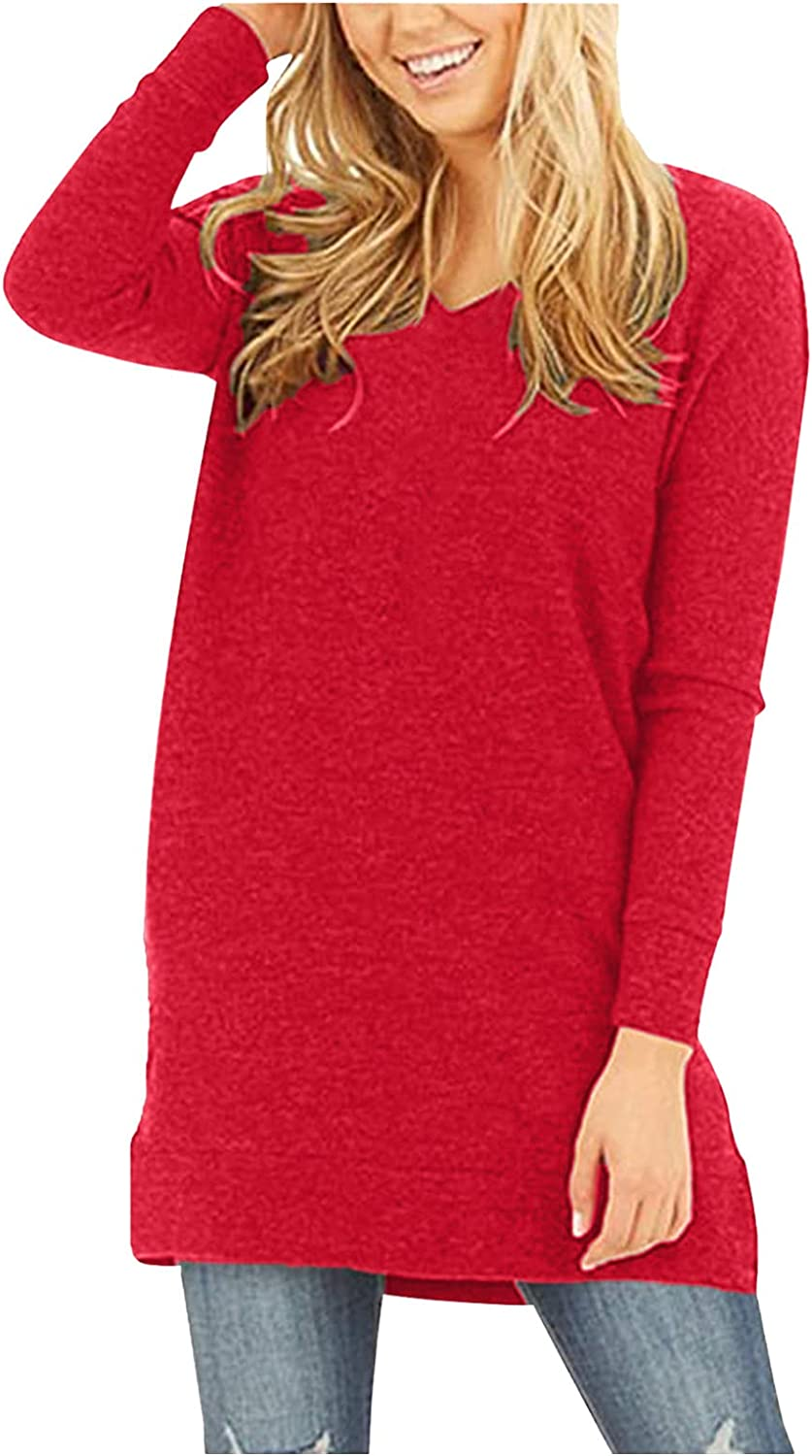 aihihe Womens Long Sleeve V Neck Tops Pullovers, 2021 Fall Tunics for Leggings Solid Color Causal T Shirts Tunic Blouses