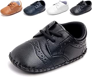 Cindear Newborn Baby Boys First Walking Shoes Soft Synthetic Leather Brogue Infant Dress Crib Shoes