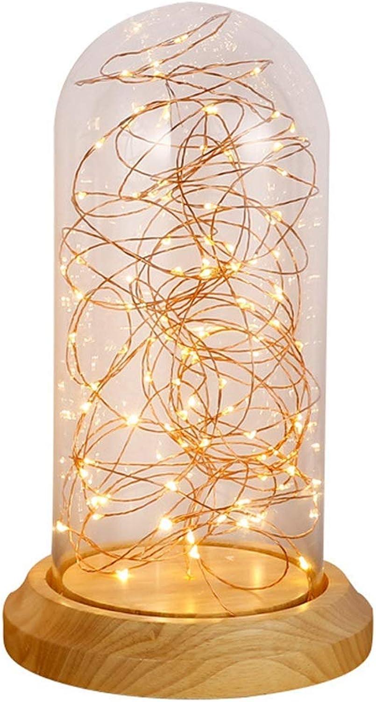 BDYJY LED Tischlampe, Nachttischlampe Moderne Massivholz Glas Tischlampe Nordic Kinderzimmer Schlafzimmer Dekoration Tischlampe Nachtlicht (Gre  L)