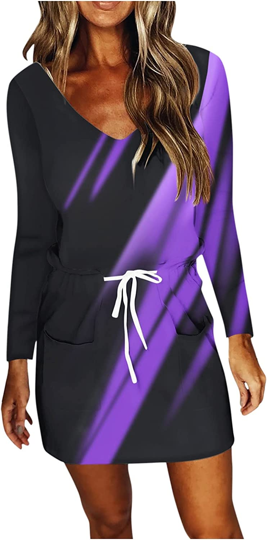 NEEKEY Women's 2021 Autumn Dresses Casual Long Sleeve V Neck Mini Dress Loose Fit Drawstring Tie Dye Print Dress with Pocket