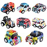 Macchinine Giocattolo, 8 Pezzi Giocattolo Pressofuso Mini Auto della Set Metallo Tirare Indietro Veicoli a Frizione per Bambini di 3-12 Anni Ragazzi Ragazzi Bambini, Stile Graffiti