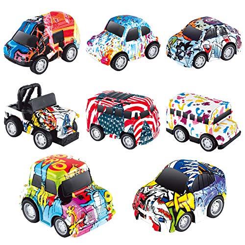 Coche De Juguete, Pack de 8 Metálico Tire hacia Atrás del Auto Vehículos Educativo Juguete para Niños Coches Modelos, Mini Die Cast Set de Coches de Juguete para niños de 3 a 12 Años Niñas Niños