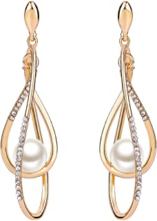 Women's Austrian Crystal Simulated Pearl Twist Chandelier Teardrop Dangle Earrings Clear