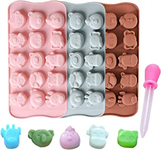 Candy Molds Ice Cube Trays Chocolate Molds, Silicone Molds Including Elephant, Calve, Panda for Making Ice, Jelly, Chocolate, Soap, Pack of 3 with 1 Dropper(Lovely Animals)