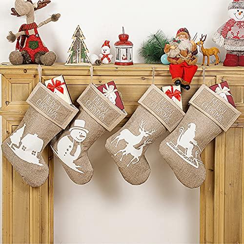 Medias navideñas de 4 unidades – 47 cm grande clásico calcetín de Navidad con impresión de Papá Noel, muñeco de nieve, reno y lazo para colgar en chimenea, árbol de Navidad y decoración del hogar