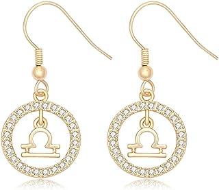 NOUMANDA Gold Plated Star Sign Rhinestone Crystal Dangle Drop Earrings 12 Constellations Zodiac Horoscope Astrology Disc J...