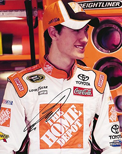 AUTOGRAPHED 2009 Joey Logano #20 The Home Depot Racing ROOKIE DRIVER (Joe Gibbs Team) Garage Area Old Signature Stlye Signed Picture NASCAR Glossy 8X10 inch Photo with COA