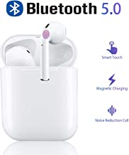 Bluetooth 5.0 Headphones Wireless Earbuds with Fast Charging Case 3D Stereo in-Ear Built-in Dual HD Mic Earphones Premium Sound Headphones for iPhone Samsung Airpods 2 Apple Bluetooth Earbuds (White)