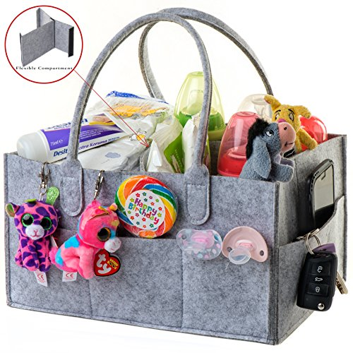 Baby Diaper Caddy Organizer Bag Gray Felt Baby Changing Table Organizer for Toys, Diapers, Wipes,Basket Unisex Nursery Station for Boys and Girls Nursery Strong Baby Shower Gift by My Baby