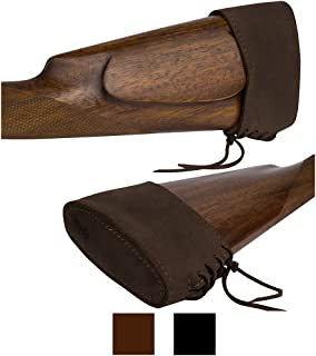 BronzeDog Slip On Recoil Pad Genuine Leather Buttstock Extension for Shotguns Rifles Hunting Shooting Brown Black
