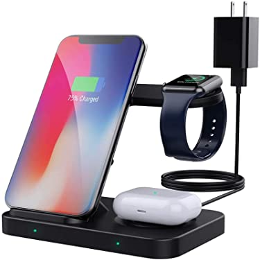 MoKo 3 in 1 Wireless Charger Stand, 10W Fast Charging Dock Station Compatible Galaxy Watch 3 41mm/45mm/42mm/46mm/Active 2/1/Buds, iPhone12/11/SE/Apple Watch SE/6/5/4/3/Airpods Pro(with QC3.0 Adapter)