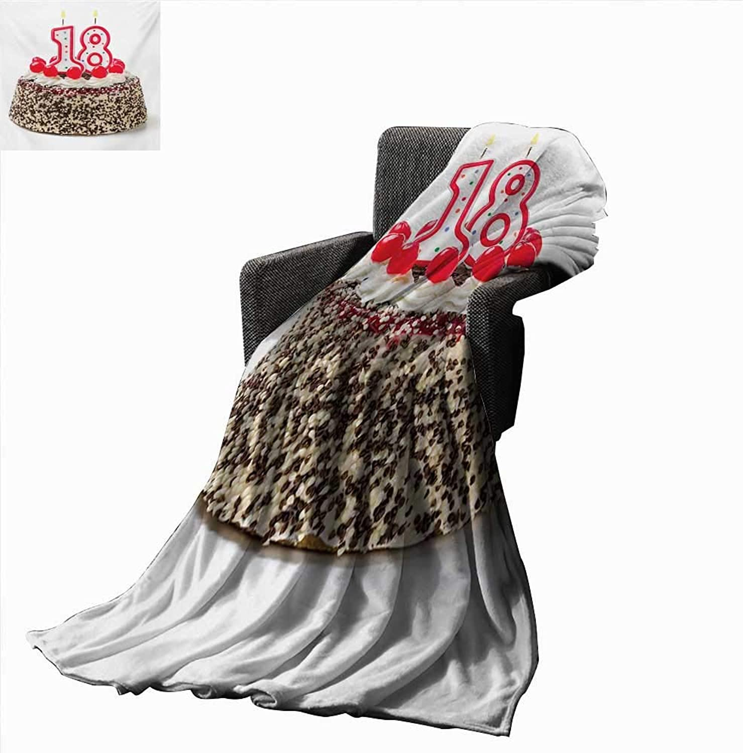 Anyangeight 18th Birthday Digital Printing Blanket Sweet Eighteen Party Cake with Candles and Cherries Sprinkle Vibrant Photo 60 x50 ,Super Soft and Comfortable,Suitable for Sofas,Chairs,beds
