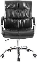 Furniture Ergonomic PU Mid Back Computer,Office Faux Leather Swivel Desk,Adjustable Hight Kneeling Chair (Color : Black)