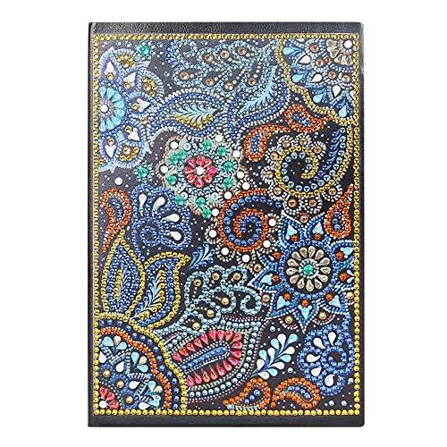 Cubierta de pintura de diamante, para manualidades, color parcialmente perforado, cristales de forma especial, 50 páginas, tamaño A5, diario, regalo de cumpleaños (Mandala KB010)