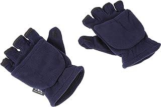 CLISPEED Warm Half Finger Gloves Winter Convertible Flip Top Fingerless Mittens for Adults Men Blue