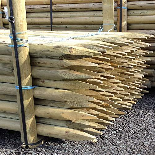 GardenerSupplies TREE STAKE 10 PACK OF 1.8m x 50mm MACHINE ROUND POINTED GARDEN TIMBER FENCE POST